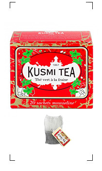 Kusmi Tea / THE VERT A LA FRAISE 20 SACHETS MOUSSELINES